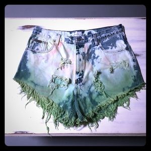 Tie-dye distressed high waisted jean shorts